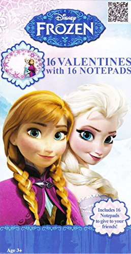 1 X Disney Frozen Loving Sisters Anna and Elsa Valentines with Notepads (16 each) Single box