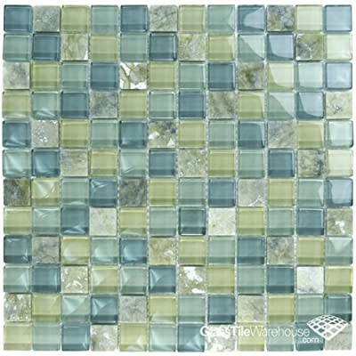 """Olive Glass & Stone Tile Blend 1"""" x 1"""" by Ceramic & Glass Tile Store"""