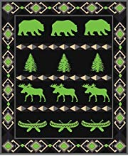 Moose Bear Canoe Pine Tree Fleece Blanket Throw Polyester 50x60-inch Grey PinkPurple