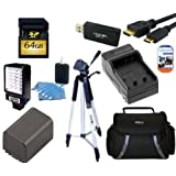 "Intermediate Accessory Kit For Canon Vixia HFM50 HFM52 HFM500 HFR32 HFR30 HFR300 HFR40 HFR42 HFR400 HFR50 HFR52 HFR500 Camcorder - Includes 64GB SD Memory Card + Replacement BP727 Battery + Battery Charger + LED Video Light + Deluxe Case + 57"" Tripod + Mini HDMI Cable & Much More!!"