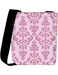 Snoogg Pink Floral Pattern Designer Womens Carry Around Cross Body Tote Handbag Sling Bags