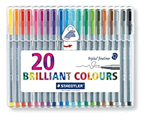 Staedtler 334 SB20 Triplus Fineliner Tips Desktop Box - Assorted Colours, Pack of 20