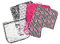 Trend Lab Zahara Zipper Pouch and 4 Count Burp Cloth Gift Set