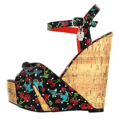 Iron Fist Women's Platform Shoes - Cherry Glazer Peep Toe Wedges