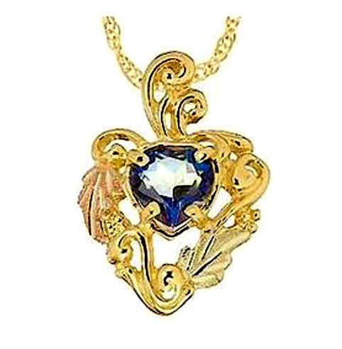 Stamper Black Hills Gold Heart Mystic Fire Topaz Necklace. 12K Gold Leaves Adorn 10K Gold Heart Setting. Gold Filled Chain. N1254MYS