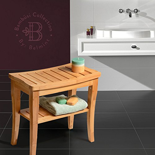 Shower Bench Seat Bamboo Shower Seat Shaving Stool Spa Bath Bench With Storage Shelf By
