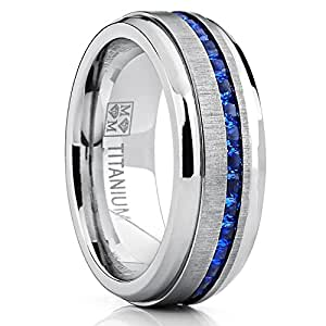 Amazon Mens Eternity Titanium Wedding Band Engagement Ring W Blue Simulated Sapphire