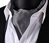 Black Floral Men 100%Silk Cravat Ties Jacquard Woven Casual Ascot
