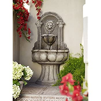 "Reconstituted Granite Lion 49"" High Wall Basin Fountain"