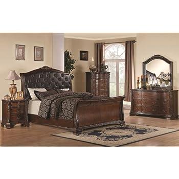 Maddison 5Pc Eastern King Sleigh Bedroom Set w/ Upholstered Headboard