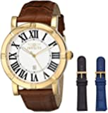 Invicta Men's 13971 Specialty Watch Set Silver Dial Brown Leather Watch with 2 Additional Straps