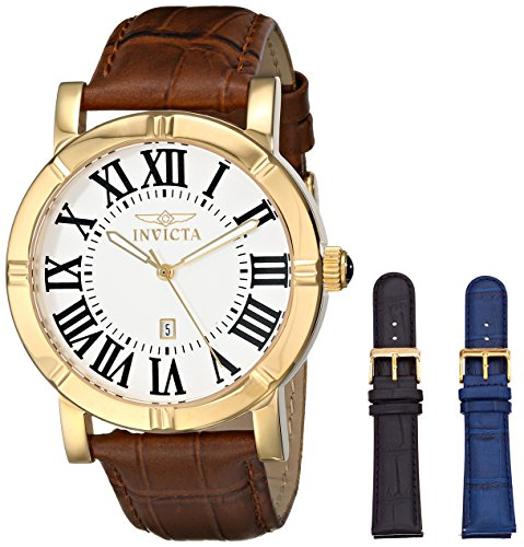 Invicta Invicta Men's 13971 Specialty Watch Set Silver Dial Brown Leather Watch with 2 Additional Straps