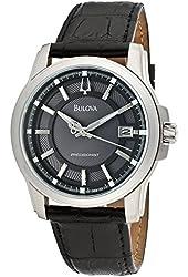 Bulova Men's 96B158 Langford Black Genuine Leather Watch