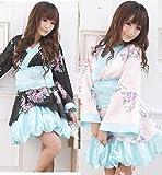 かわいい !! 和服/浴衣 ドレス コスプレ 衣装 光沢 花柄 2着セット ピンク/ブラック