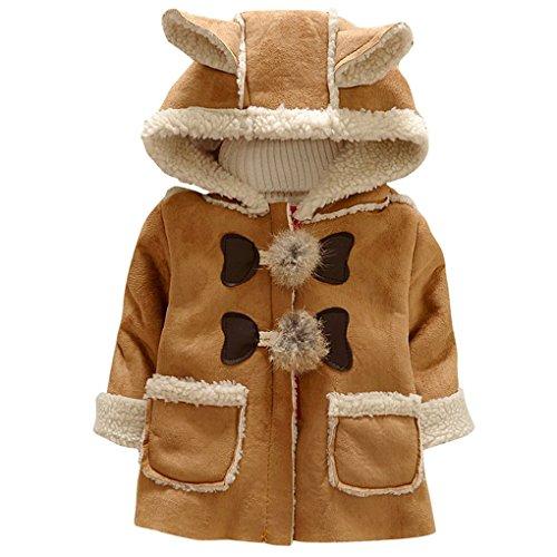 Happy Cherry 冬着コート ガールズ 女の子 ジャケット アウター コート キッズ服 可愛い 厚手 暖かい 防寒 帽子付き 耳付き コーヒー色 サイズ6