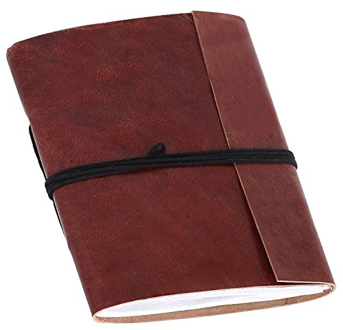 """SouvNear 6"""" Vintage Brown Genuine Leather Journal / Sketchbook / Scrapbook / Notebook / Travel Diary for Writers Artist Professionals - Embossed Ethnic Antique Writing Journal with Handmade Paper"""