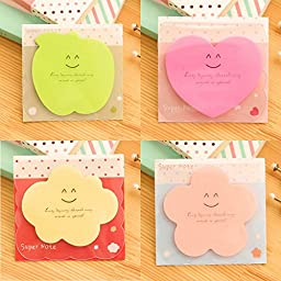 ADB Inc 10 Type Kawaii Cute Clouds Leaf Animal Forest Mini Memo Pad Stationery Sticker Post It Notes Paper Bookmark Flags Sticky (09 4 Designs A)