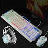 Computer wired USB LED keyboard and mouse set headset three piece game notebook home keypad mouse (Silver white three pieces Mixed backlight) (Color: Silver white three pieces)