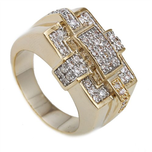 Men's Goldtone CZ Box Stitch Ring Sizes 10-11 (10)