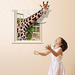 Fange DIY Removable 3D Creative High Definition Window Giraffe Art Mural Vinyl Waterproof Wall Stickers Living Room Decor Bedroom Decal Sticker Wallpaper 35.4\'\'x23.6\'\'