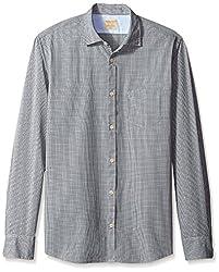 Rosé Pistol Men's Long Sleeve La Jolla Mini Checked Shirt, Dark Navy, M