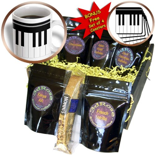 Cgb_112827_1 Inspirationzstore Music Art Designs - Piano Keys - Black And White Keyboard Musical Design - Pianist Music Player And Musician Gifts - Coffee Gift Baskets - Coffee Gift Basket