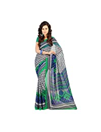 Admyrin Multi Colour Georgette Saree With Green Blouse Piece - B00VQ6MG68