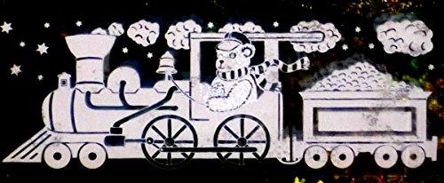 """2 er SET RETRO KULT """"LOK ZUG MIT WEIHNACHTSBÄR"""" 30, 5 x 11, 5 cm groß selbstklebende , Fensterdekoration Fensterbild, Fensterfolie MADE IN GERMANY, Weihnachtsdekoration, Schaufenster In- und Outdoor , Kinderzimmer, Winter Basteln Spielen Kleben, Bunte Klebebilder für das Fenster Sticker, Weihnachten Rentier Tannenbaum Geschenke Weihnachtskalender Nikolaus Engel Christmas Schneemann"""