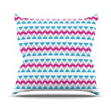 Kess InHouse Apple Kaur Designs Swimming Pool Tiles Blue Pink Outdoor Throw Pillow, 20 by 20-Inch