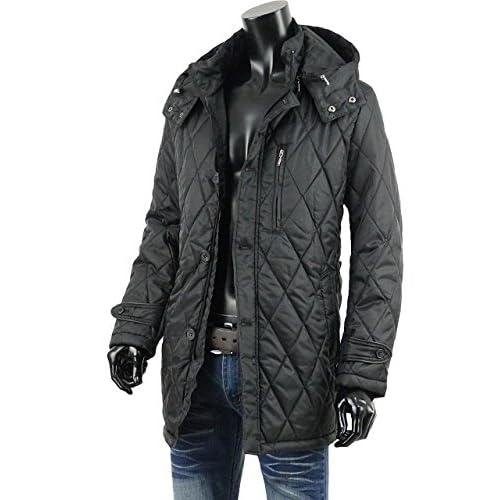 ハーフコート メンズ キルティング 中綿 軽量 ライト ダウン コート 冬 おしゃれ V261217-01 ブラック M