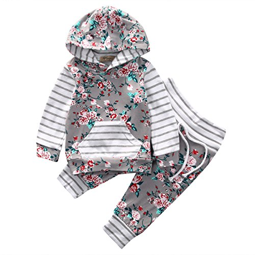 Baby Girl 2pcs Set Outfit Flower Print Hoodies with Pocket Top+Striped Long Pants (6-12M, Grey)