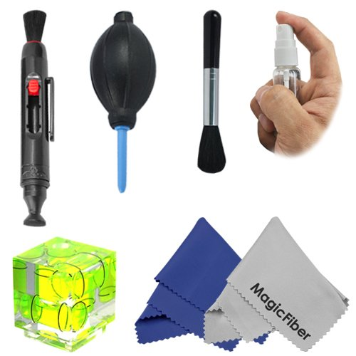 Hotshoe Three Axis Triple Bubble Spirit Level And Cleaning Accessory Kit For Canon & Nikon Cameras - Includes: Three Axis Hot Shoe Bubble Spirit Level + Deluxe Cleaning Kit + Lens Cleaning Pen + 2 Premium Magicfiber Microfiber Lens Cleaning Cloth