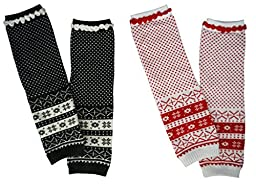Pack of 2 Infant Toddler Unisex Baby Winter Knit Snowflake Leg Warmers Grey White