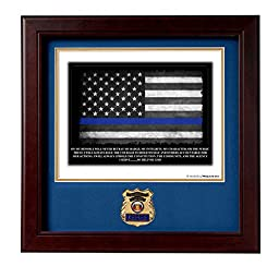POLICE Medallion Solid Wood Frame Oath of Office Stamped and Numbered Print