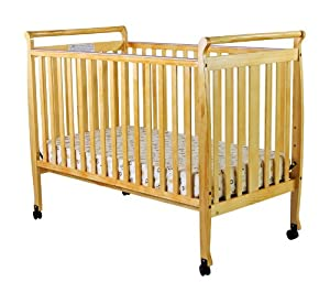Dream On Me Bella 2 in 1 Convertible Sleigh Stationary Side Crib, Natural