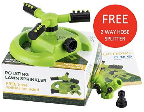 Lawn Sprinkler - FREE 2 Way Hose Splitter - Best 3 Arm Lightweight Garden Sprinklers-
