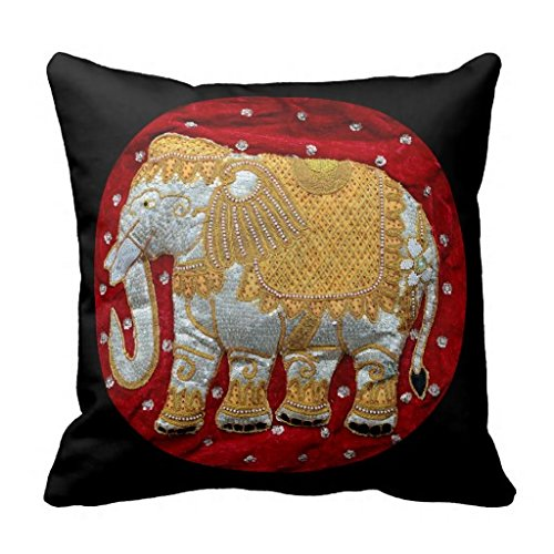 Embellished Indian Elephant Red And Gold Throw Pillow Case 18x18 from 20x20 Inches Pillowcase ...