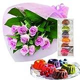 花とスイーツ ギフトセット エレガント ピンク バラ 花束 と はちみつとクリームチーズのフルーツケーキ6個 写真入りメッセージカード