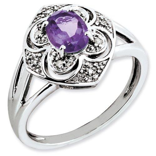 Sterling Silver Diamond & Amethyst Ring