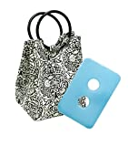 Fit & Fresh Ladies Retro Insulated Lunch Bag with Reusable Ice Pack, Magnetic Snap, Black & White Damask