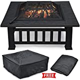 "Yaheetech Outdoor 32"" Outdoor Metal Firepit Backyard Patio Garden Square Stove Fire Pit W/cover"