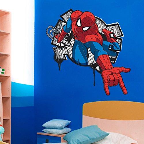 3D Spider man Kids bed room decor Wall Sticker wall decals Art PVC decor ;KT9812-5YHJY/4E1D2RT9Q2321