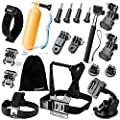 Zookki Accessories Bundle Kit for GoPro Hero 4 3+ 3 2 1 Black Silver Accessory Kit for GoPro 4 3+ 3 2 1 and SJ4000 SJ5000 SJ6000, Sports Camera Accessory Set in Parachuting Swimming Rowing Surfing Skiing Climbing Running Bike Riding Camping Diving Outing