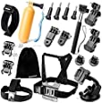 Zookki Accessories Bundle Kit for GoPro Hero 4 3+ 3 2 1 Black Silver Accessory Kit for GoPro 4 3+ 3 2 1 and SJ4000 SJ5000 SJ6000, Sports Camera Accessory Set in Parachuting Swimming Rowing Surfing Skiing Climbing Running Bike Riding Camping Diving Outing Any Other Outdoors Sports