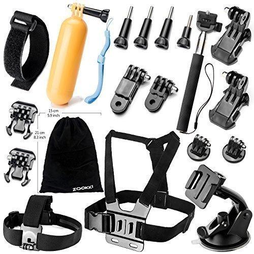 Zookki Accessories Bundle Kit for GoPro Hero 5 4 3+ 3 2 1 Black Silver SJ4000 SJ5000 SJ6000, Outdoor Sports Kit for Xiaomi Yi/Lightdow/WiMiUS/DBPOWER