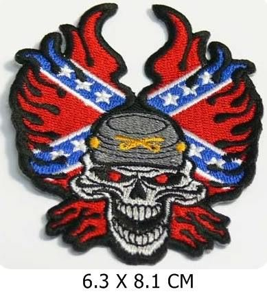 Hell Rebel Skull Biker Appliques Hat Cap Polo Backpack Clothing Jacket Shirt DIY Embroidered Iron On / Sew On Patch