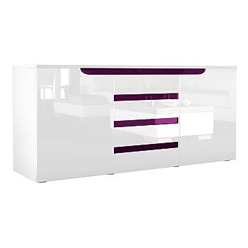 Buffet Dressoir Sylt, Corps en Blanc mat / Façades en Blanc haute brillance avec un decor en Mûre haute brillance