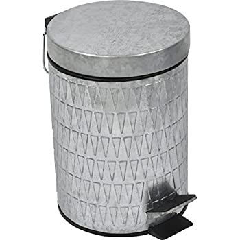 EVIDECO 6540102 Retro Galvanized Round Metal Bathroom Floor Step Trash Can Waste Bin 3-liters/0.8-gal Color: Silver