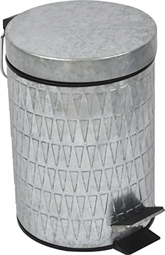 EVIDECO 6540102 Retro Galvanized Round Metal Bathroom Floor Step Trash Can Waste Bin 3-liters/0.8-gal Color: Silver 0