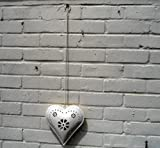 Large Hanging Heart Tealight Holder - Cream Metal With Punched Flower Design